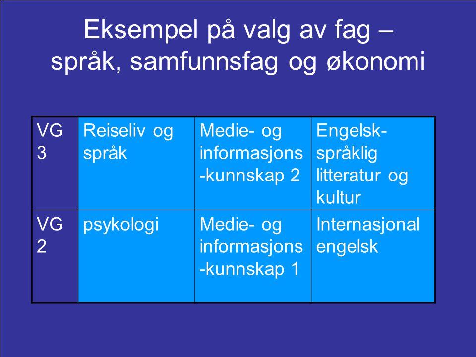 Eksempel på valg av fag – språk, samfunnsfag og økonomi