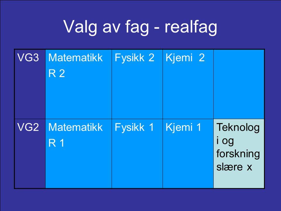 Valg av fag - realfag VG3 Matematikk R 2 Fysikk 2 Kjemi 2 VG2 R 1