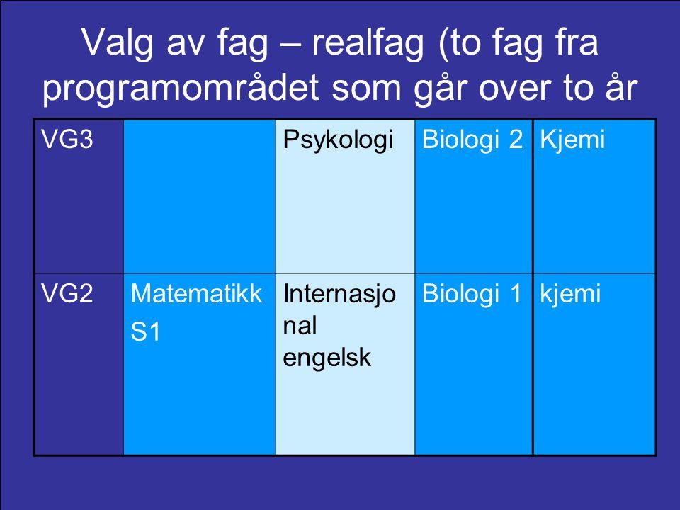 Valg av fag – realfag (to fag fra programområdet som går over to år