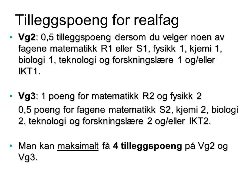 Tilleggspoeng for realfag