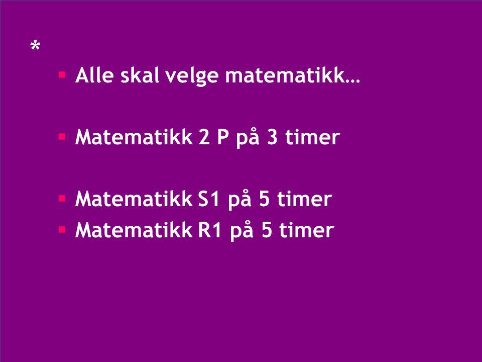 * Alle skal velge matematikk… Matematikk 2 P på 3 timer