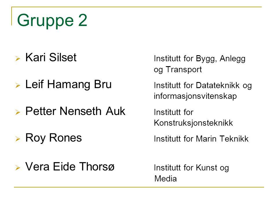 Gruppe 2 Kari Silset Institutt for Bygg, Anlegg og Transport