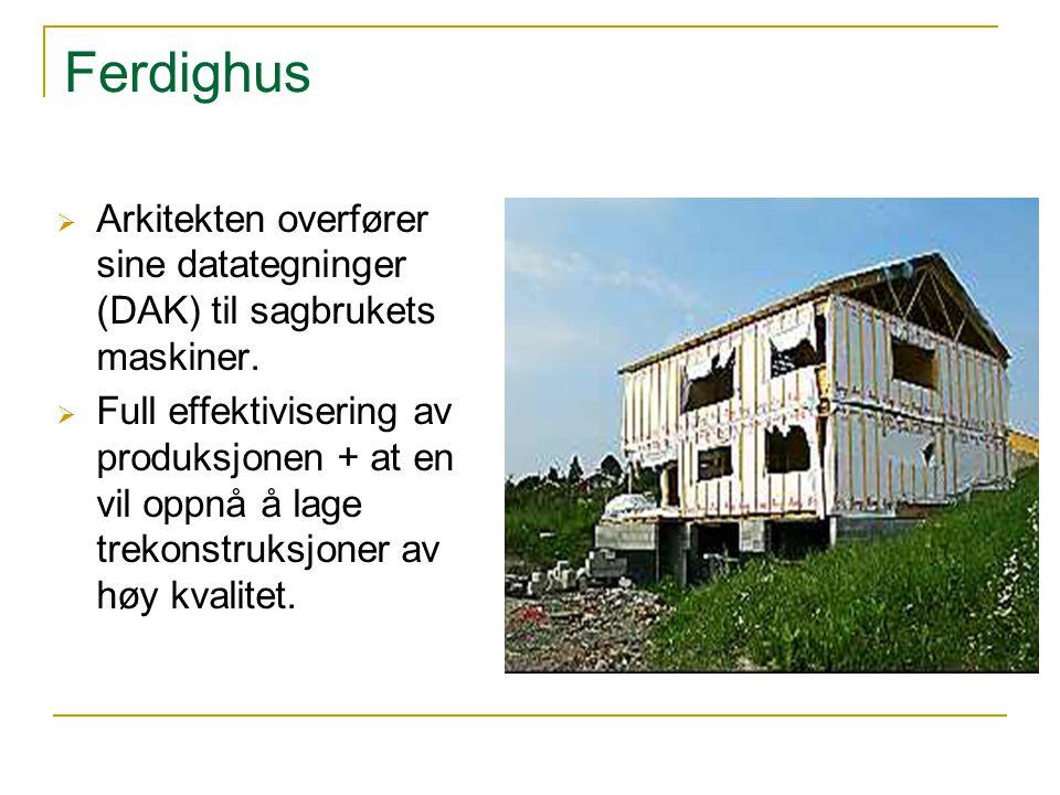 Ferdighus Arkitekten overfører sine datategninger (DAK) til sagbrukets maskiner.