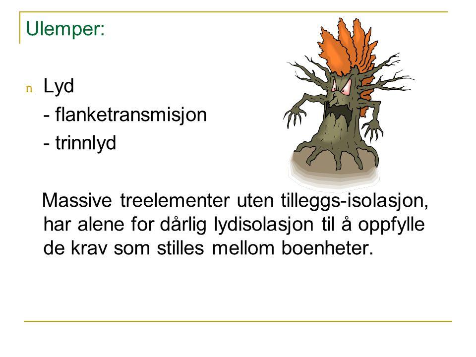 Ulemper: Lyd. - flanketransmisjon. - trinnlyd.