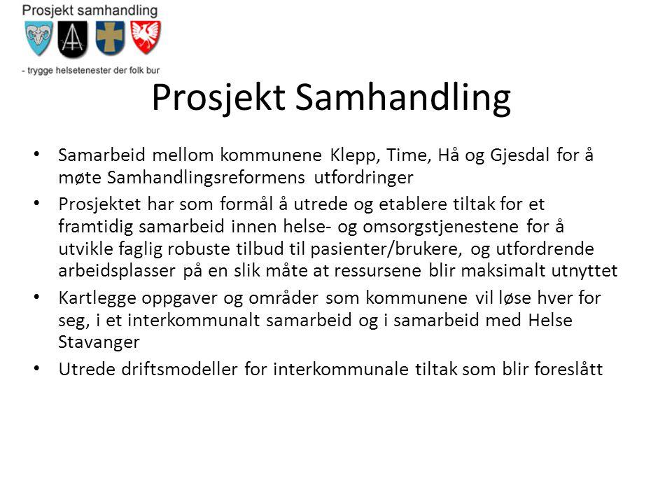 Prosjekt Samhandling Samarbeid mellom kommunene Klepp, Time, Hå og Gjesdal for å møte Samhandlingsreformens utfordringer.