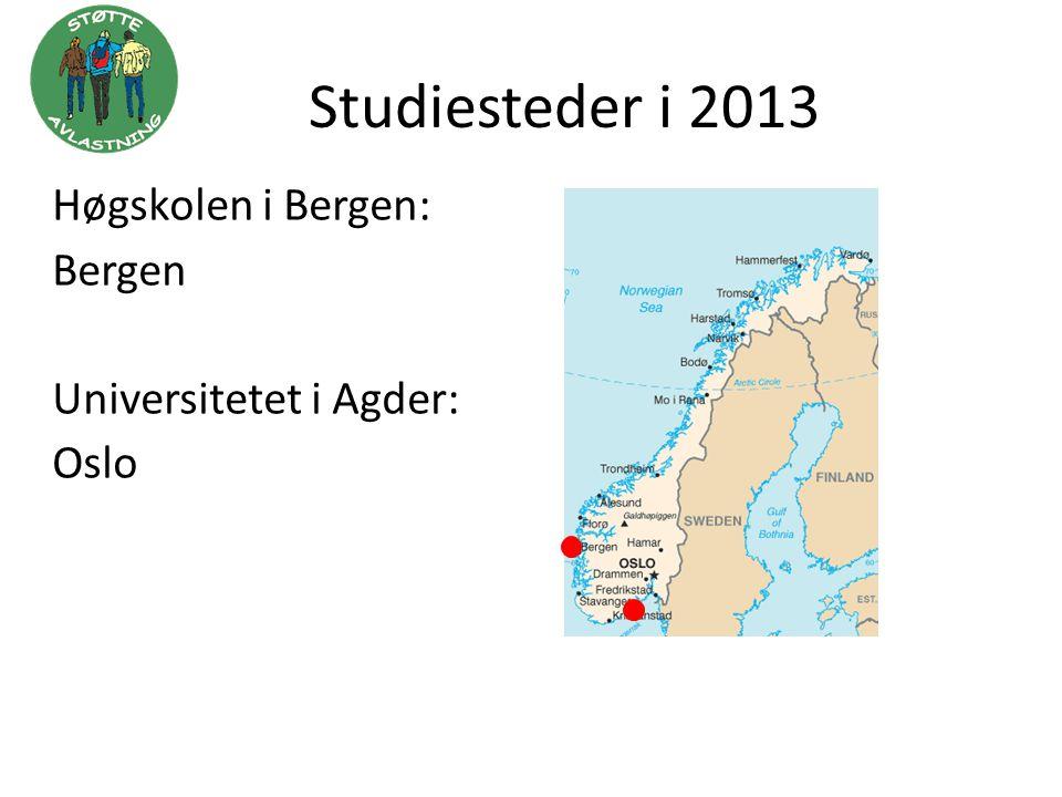 Studiesteder i 2013 Høgskolen i Bergen: Bergen Universitetet i Agder: Oslo