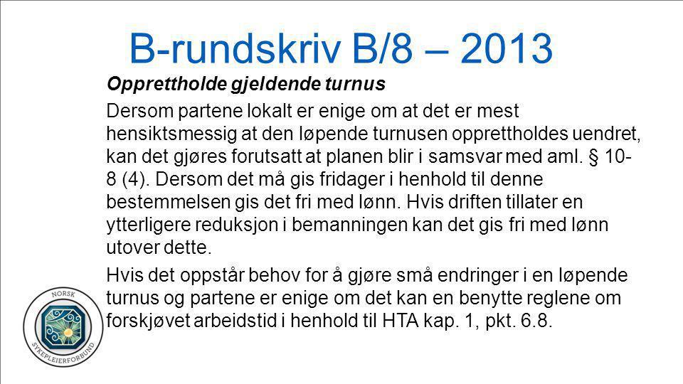 B-rundskriv B/8 – 2013