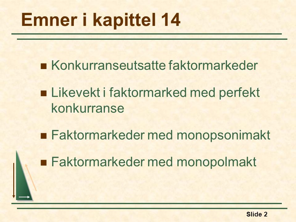 Emner i kapittel 14 Konkurranseutsatte faktormarkeder