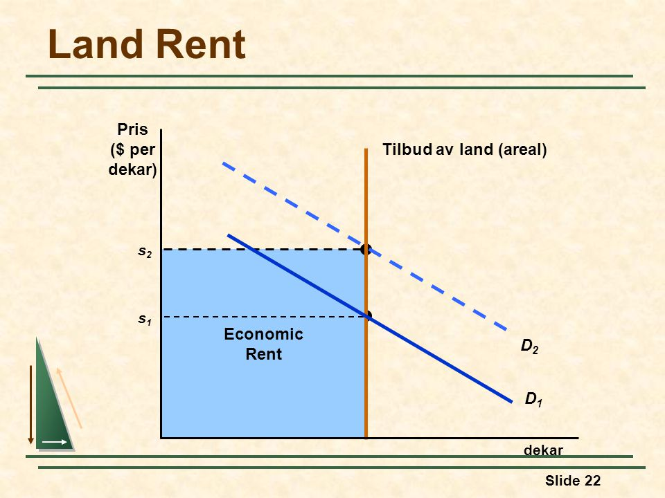 Land Rent Pris ($ per dekar) Tilbud av land (areal) Economic Rent D2