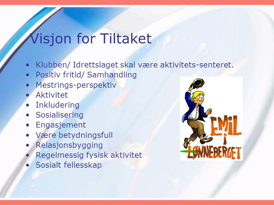 Visjon for Tiltaket Klubben/ Idrettslaget skal være aktivitets-senteret. Positiv fritid/ Samhandling.
