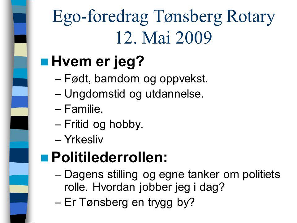 Ego-foredrag Tønsberg Rotary 12. Mai 2009