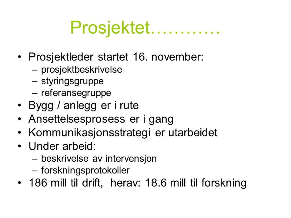 Prosjektet………… Prosjektleder startet 16. november:
