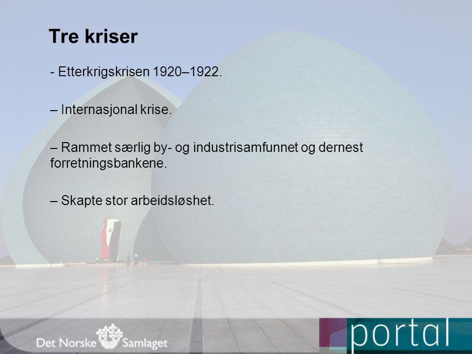 Tre kriser - Etterkrigskrisen 1920–1922. – Internasjonal krise.
