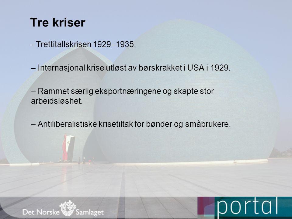 Tre kriser - Trettitallskrisen 1929–1935.