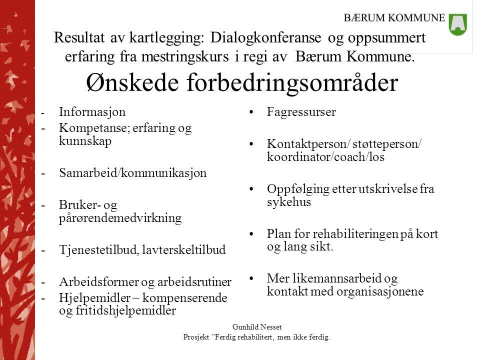 Resultat av kartlegging: Dialogkonferanse og oppsummert erfaring fra mestringskurs i regi av Bærum Kommune. Ønskede forbedringsområder