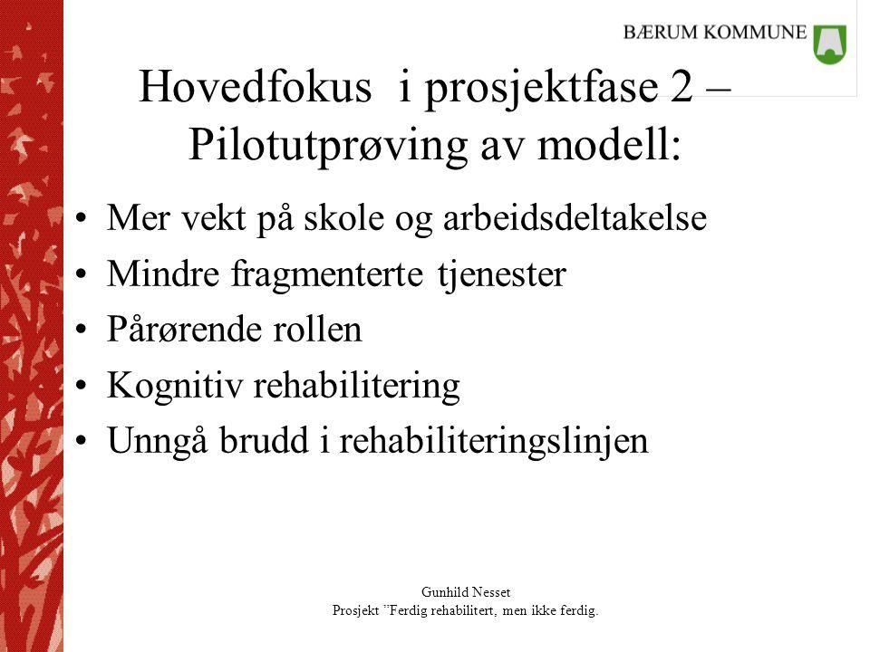 Hovedfokus i prosjektfase 2 – Pilotutprøving av modell:
