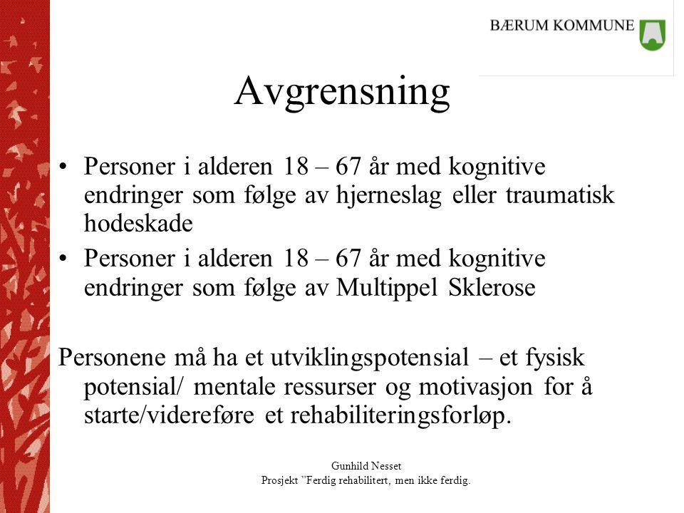 Avgrensning Personer i alderen 18 – 67 år med kognitive endringer som følge av hjerneslag eller traumatisk hodeskade.