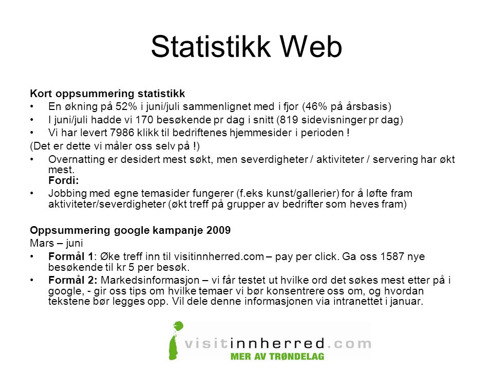 Statistikk Web Kort oppsummering statistikk
