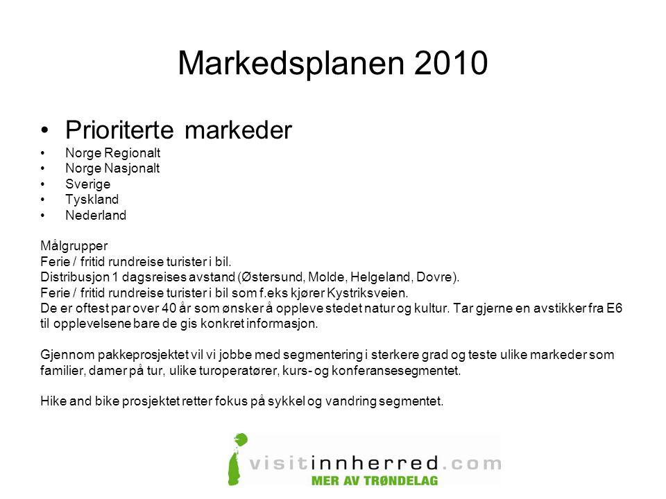 Markedsplanen 2010 Prioriterte markeder Norge Regionalt