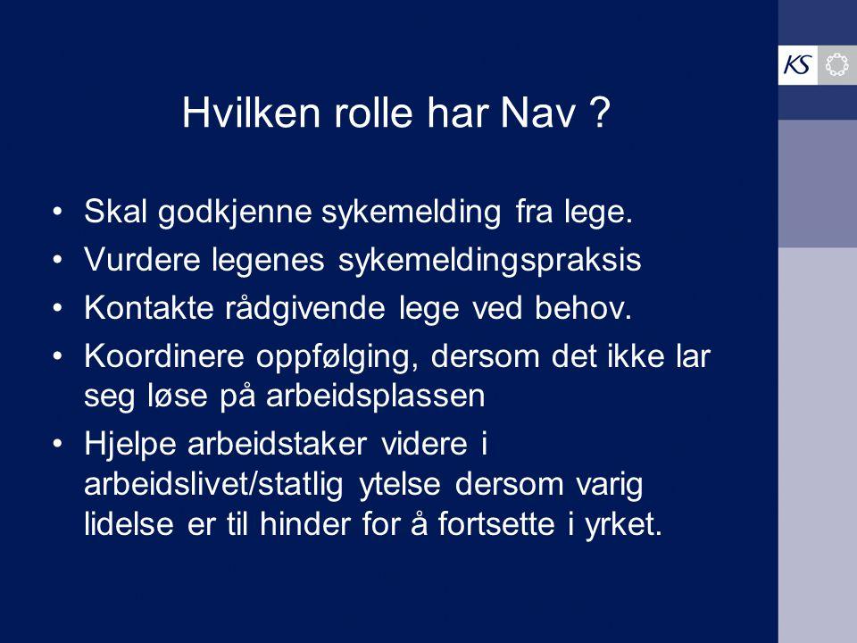 Hvilken rolle har Nav Skal godkjenne sykemelding fra lege.