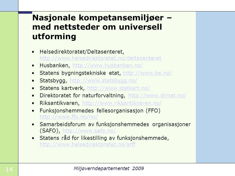 Nasjonale kompetansemiljøer – med nettsteder om universell utforming