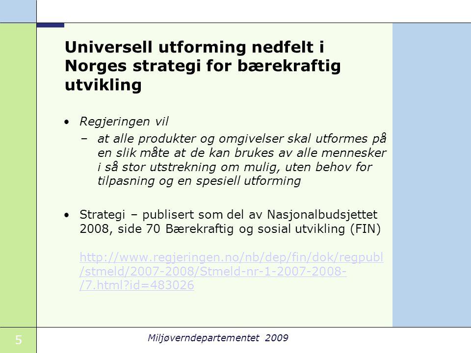 Universell utforming nedfelt i Norges strategi for bærekraftig utvikling