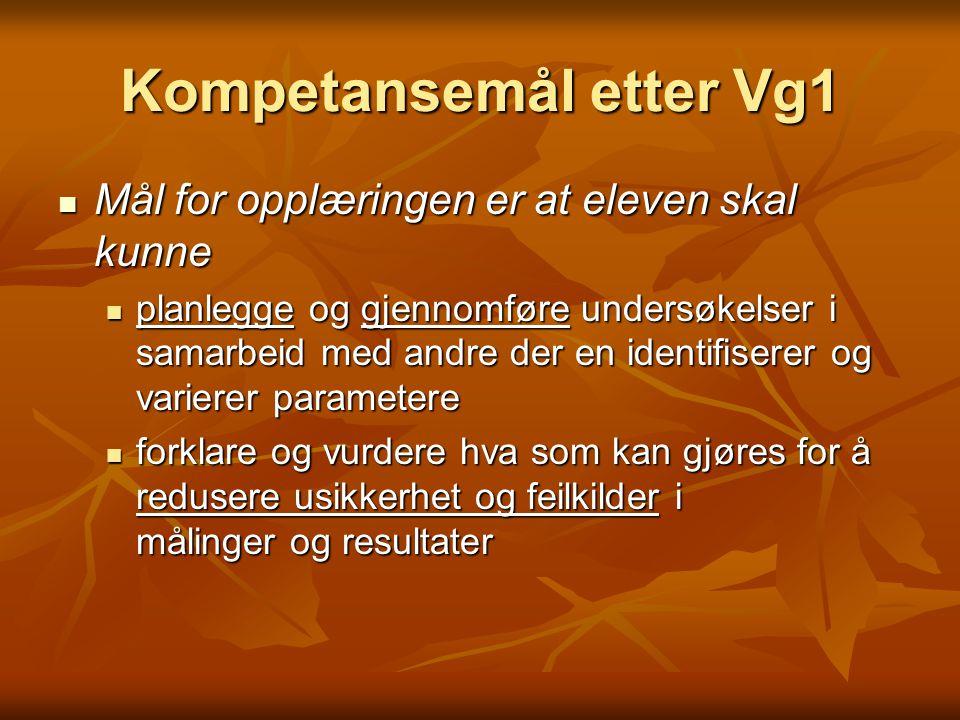 Kompetansemål etter Vg1