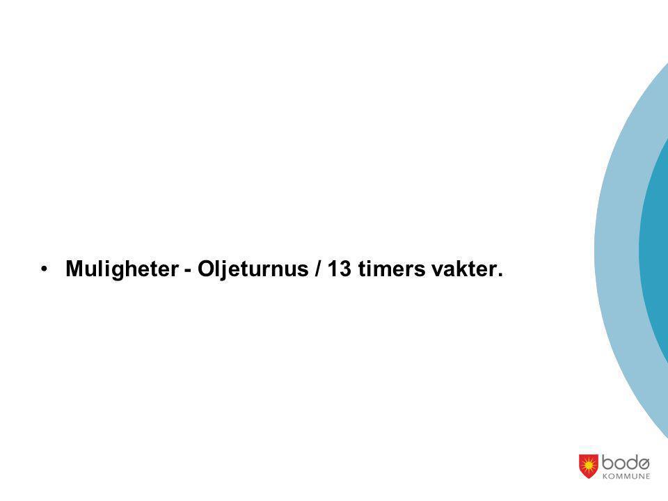 Muligheter - Oljeturnus / 13 timers vakter.