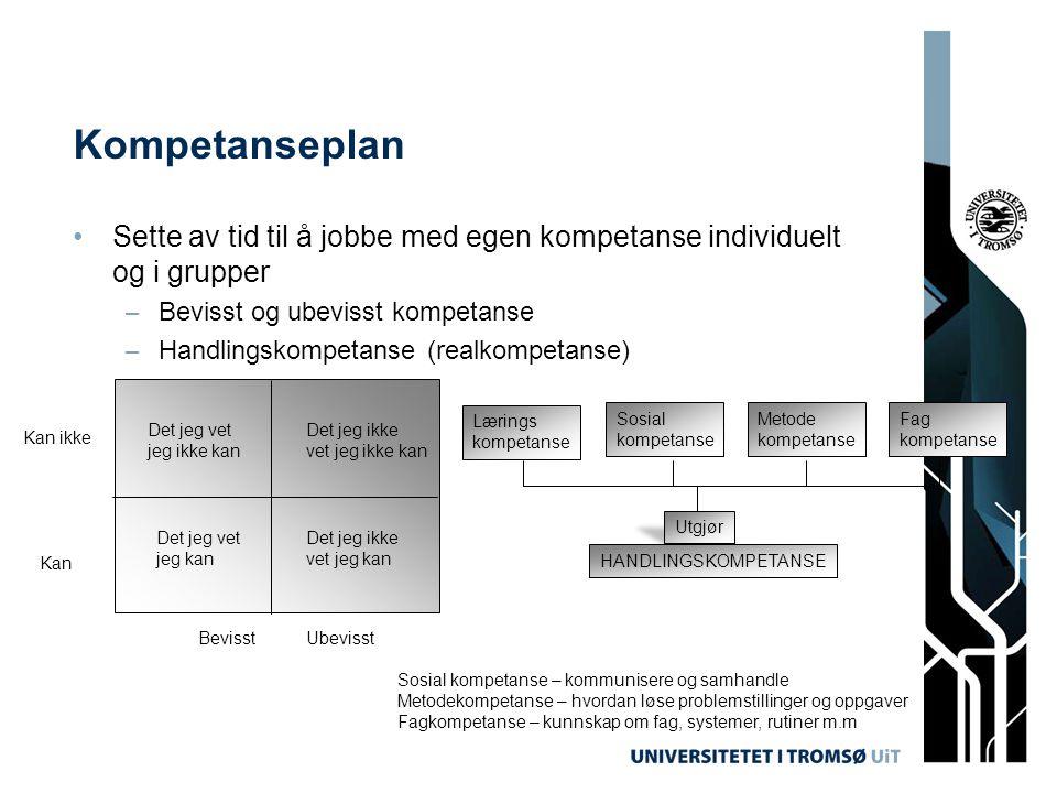 Kompetanseplan Sette av tid til å jobbe med egen kompetanse individuelt og i grupper. Bevisst og ubevisst kompetanse.