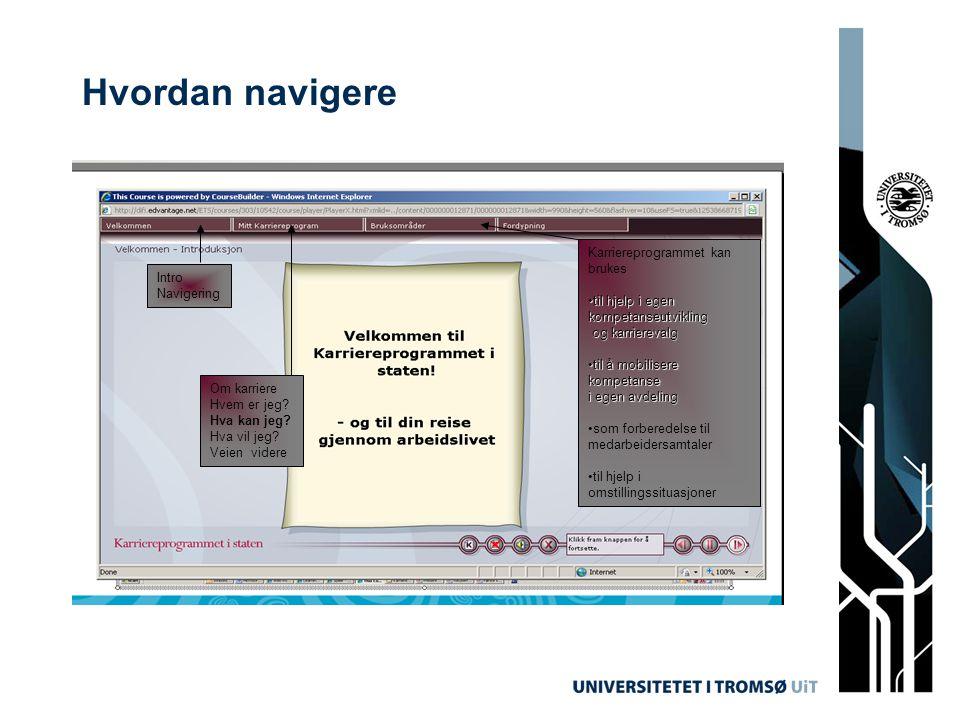 Hvordan navigere Karriereprogrammet kan brukes Intro