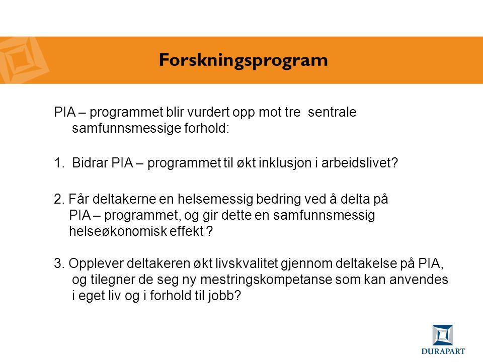 Forskningsprogram PIA – programmet blir vurdert opp mot tre sentrale samfunnsmessige forhold: