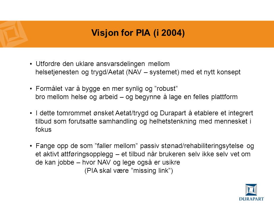 Visjon for PIA (i 2004) Utfordre den uklare ansvarsdelingen mellom