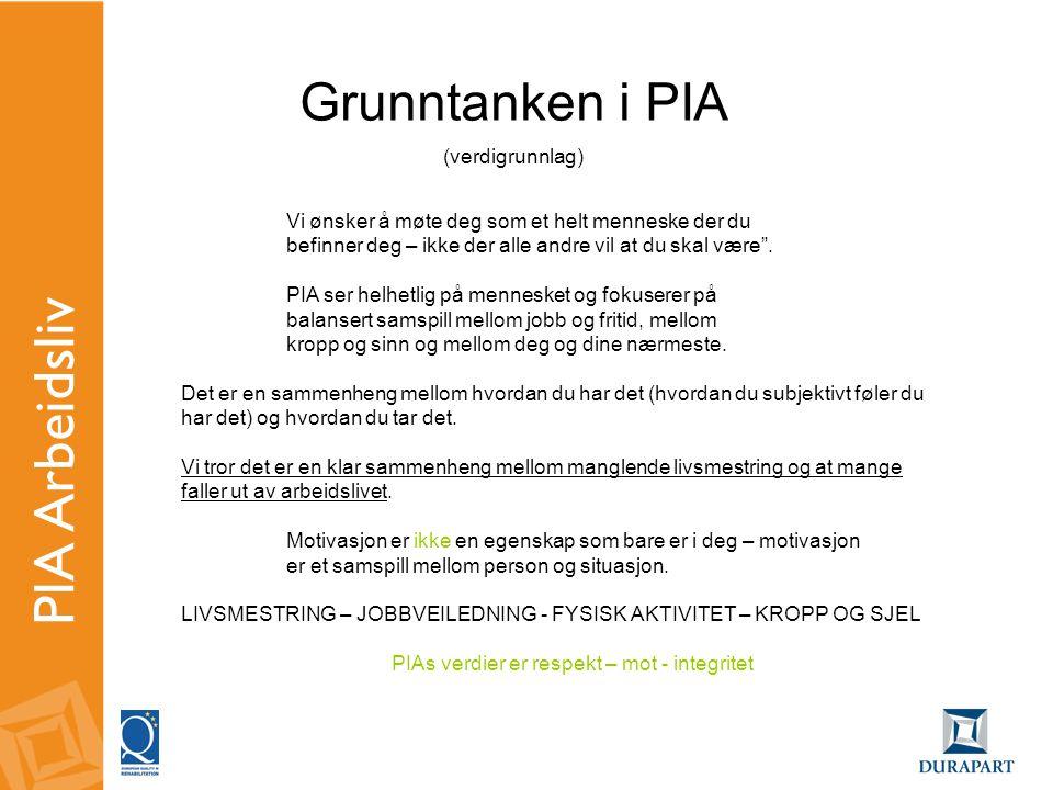 PIA Arbeidsliv Grunntanken i PIA (verdigrunnlag)