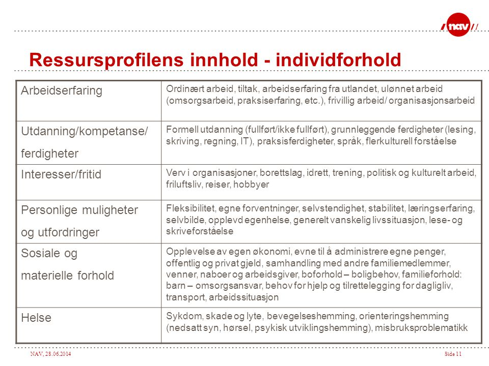 Ressursprofilens innhold - individforhold