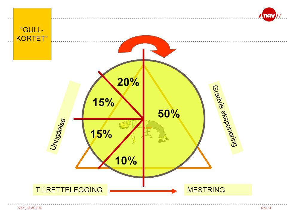 20% 15% 50% 10% GULL- KORTET Unngåelse Gradvis eksponering MESTRING
