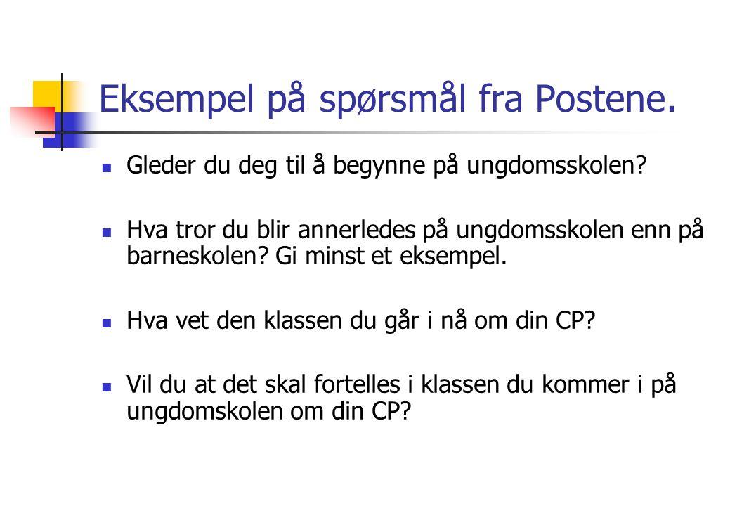 Eksempel på spørsmål fra Postene.
