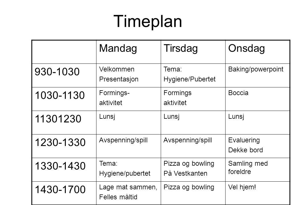 Timeplan Mandag Tirsdag Onsdag 930-1030 1030-1130 11301230 1230-1330