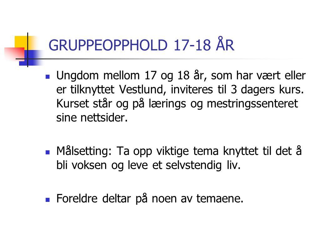 GRUPPEOPPHOLD 17-18 ÅR