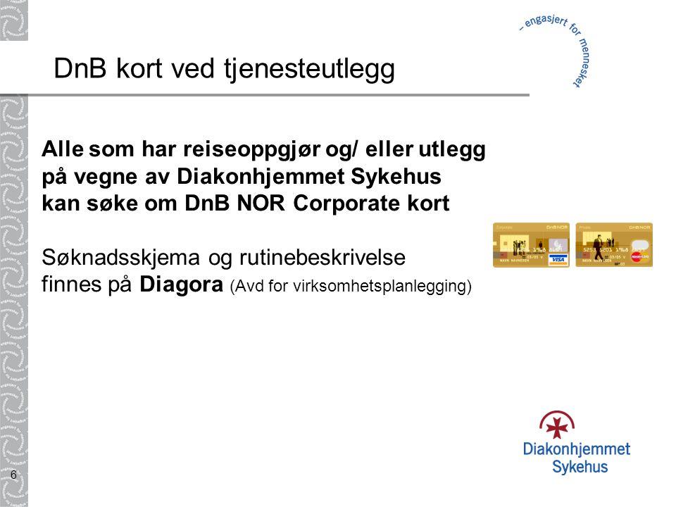 DnB kort ved tjenesteutlegg