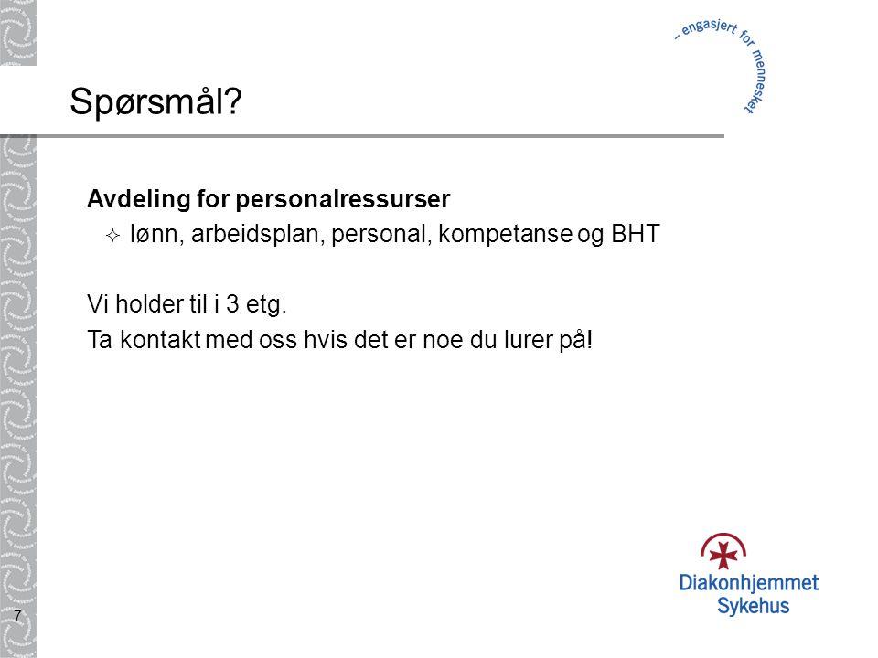 Spørsmål Avdeling for personalressurser