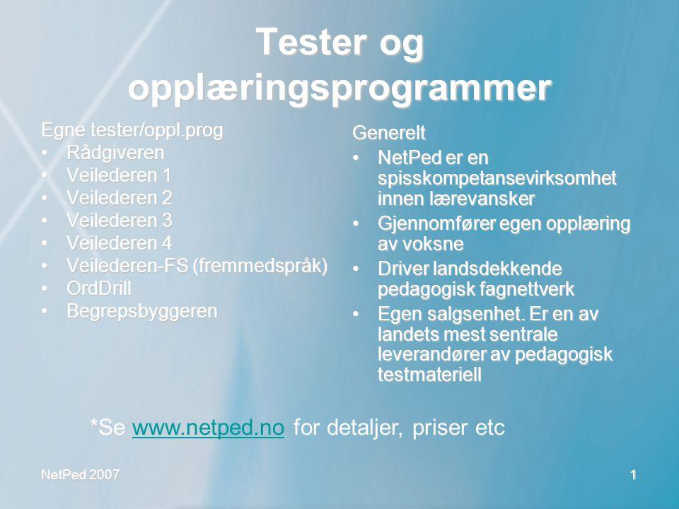 Tester og opplæringsprogrammer