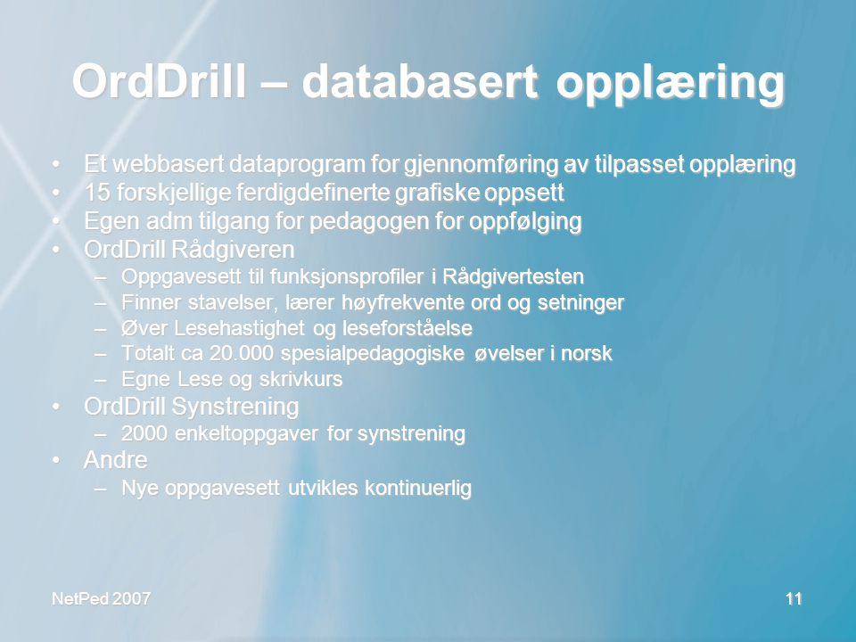 OrdDrill – databasert opplæring