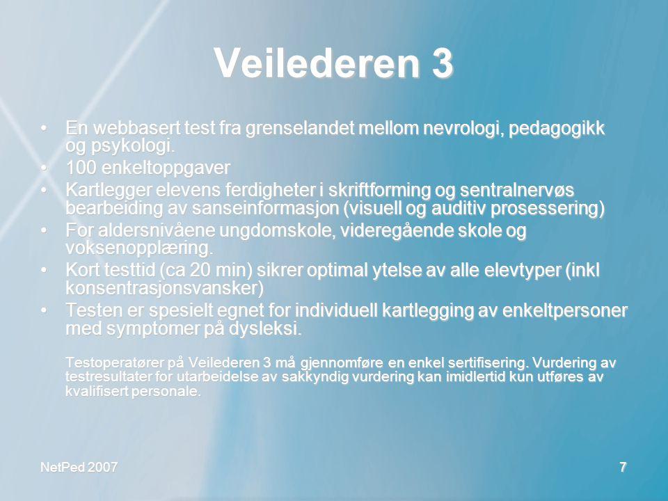 Veilederen 3 En webbasert test fra grenselandet mellom nevrologi, pedagogikk og psykologi. 100 enkeltoppgaver.