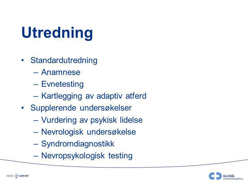 Utredning Standardutredning Anamnese Evnetesting