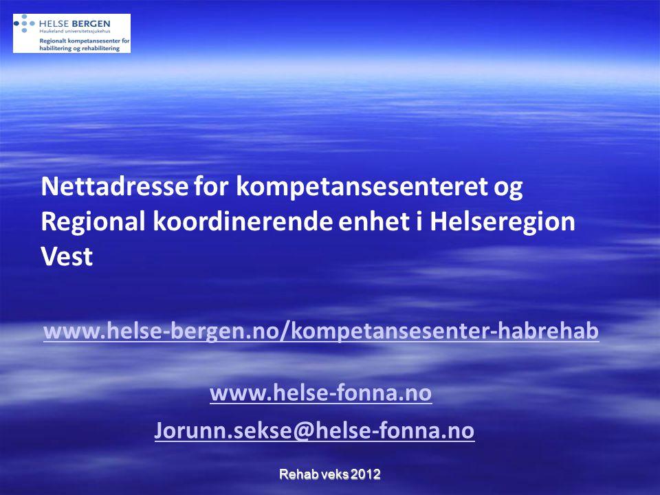 Nettadresse for kompetansesenteret og Regional koordinerende enhet i Helseregion Vest
