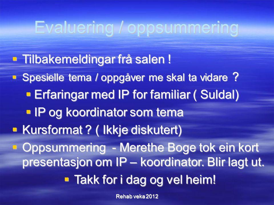 Evaluering / oppsummering