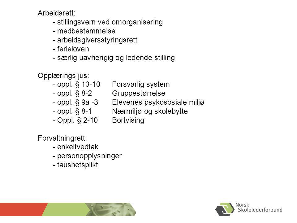 Arbeidsrett: - stillingsvern ved omorganisering. - medbestemmelse. - arbeidsgiversstyringsrett. - ferieloven.
