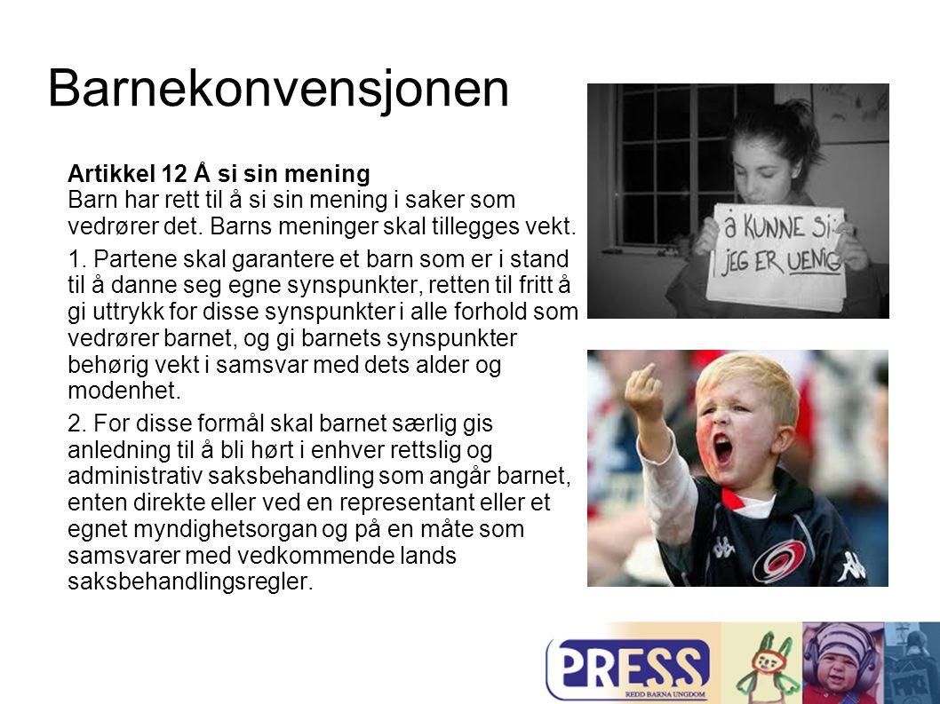 Barnekonvensjonen Artikkel 12 Å si sin mening Barn har rett til å si sin mening i saker som vedrører det. Barns meninger skal tillegges vekt.
