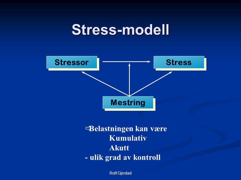 Stress-modell Stressor Stress Mestring Belastningen kan være Kumulativ