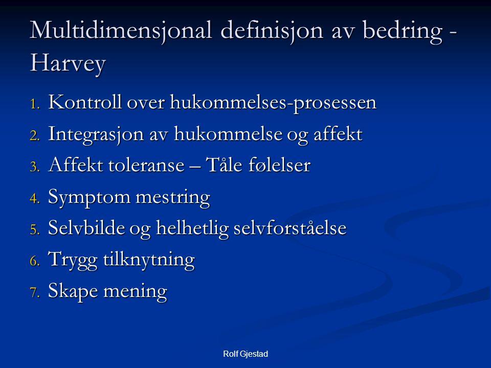 Multidimensjonal definisjon av bedring - Harvey